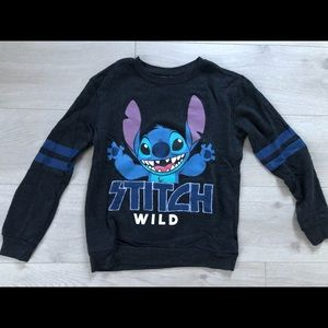 "Disney ""Stitch wild"" dark grey crew neck sweater"